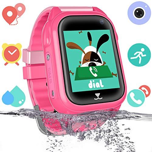 Reloj inteligente para niños con rastreador de GPS para niños y niñas IP67 Reloj inteligente a prueba de agua Teléfono con chat de voz SOS Juego de cámara Relojes Suministros de regreso a la escuela Regalo para niños (Rosa) (GSM solamente)