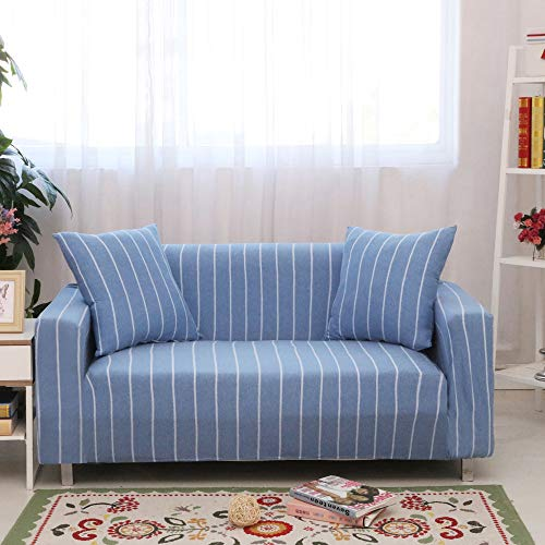 Abill - Funda de sofá de algodón elástico de alta elasticidad, protección para muebles, 1 2, 3 y 4 asientos, lavable, Impresión ancha azul y blanco., 3 seat 190-230cm