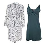 Nanette Lepore 2 Piece Womens Chemise with Robe - Nightgown and Robe Travel Pajama Set Deep Turq Small