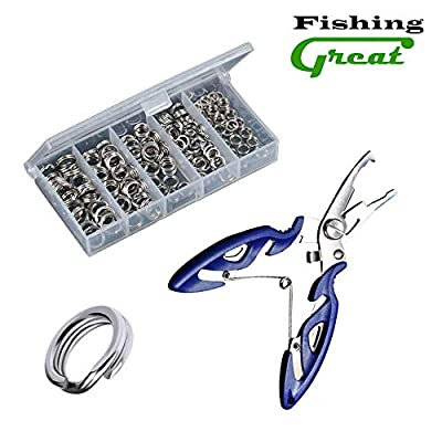 Greatfishing 200pcs High Strength Heavy Stainless Steel Split Ring Lure Tackle Connector with Fishing Pliers Fishing Accessory 30lb to 120lb Test
