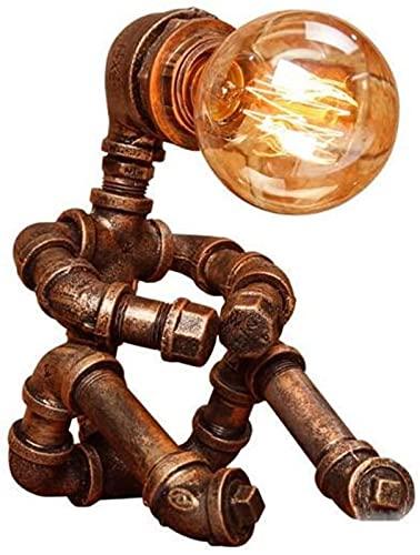 DZCGTP Lámpara de Mesa de Hierro Forjado de Metal nostálgico, lámpara de Mesa clásica con Personalidad Creativa, Robot, Accesorio de iluminación Nocturna, rústico, Industrial, Americano