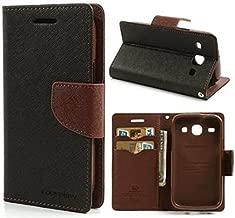 CHL Mercury Fancy Wallet Dairy Flip Case Cover for Xiaomi Redmi 2 / Mi Redmi 2 Prime (XIAOMI MI2) - Black Brown