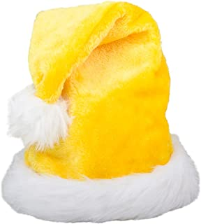 Christmas Yellow Plush Faux Fur Trim Santa Hat Costume Accessory