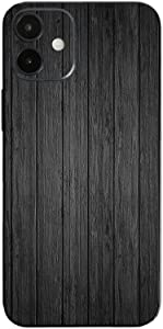 MightySkins Skin Compatible with Apple iPhone 12 Mini - Black Wood | Protective, Durable, and Unique Vinyl Decal wrap Cover | Easy to Apply, Remove, and Change Styles | Made in The USA