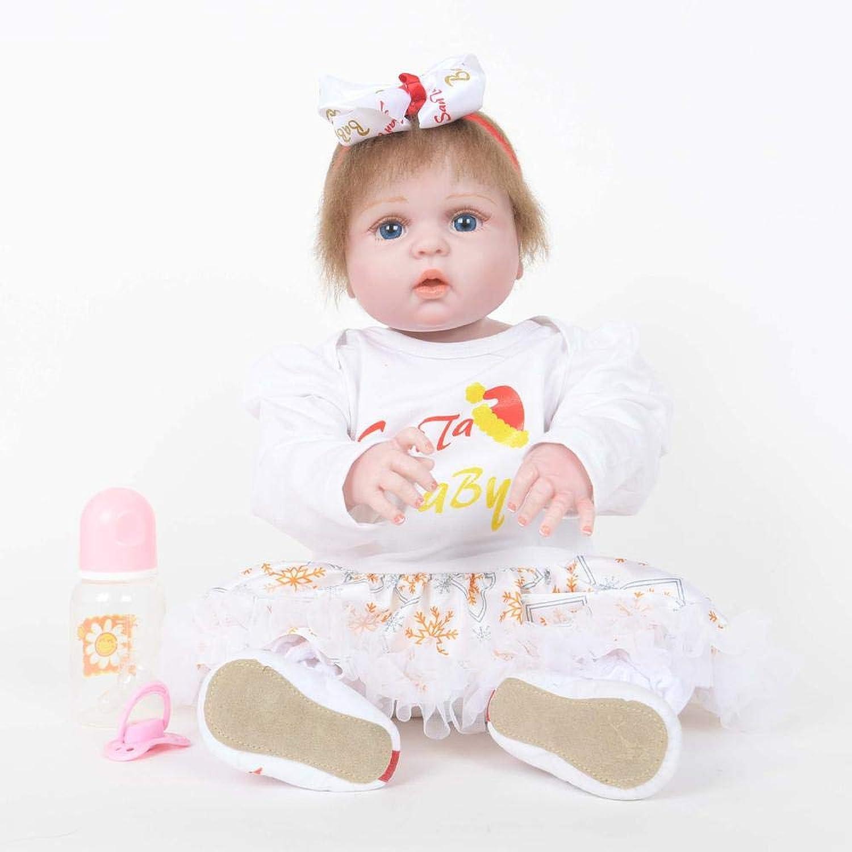 mas barato SONGXM Reborn Bebé 55 CM baby doll doll doll vestido blancoo renacer muñeca de silicona suave vinilo de simulación muñeca de los Niños juguetes de cumpleaños regalo de Navidad  mas preferencial