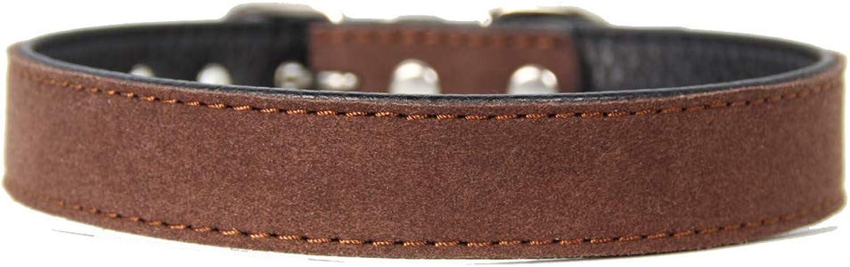 Lindou Pet collar Pet collar hit color simple soft small and medium dog decorative collar,pink,2×3238cm (color   Brown 1×2227cm)