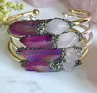 Love rose quartz gemstone bracelet healing spiritual bangle crystal cuff birthday raw boho jewelry