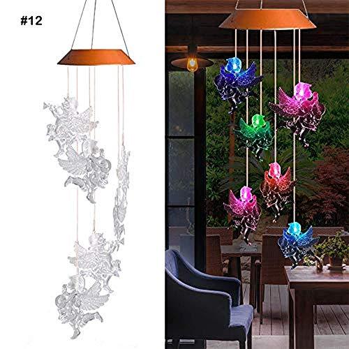 Carillón de viento LED con energía solar, luz colgante impermeable para viento móvil para decoración al aire libre, luz de campana de viento que cambia de color para patio patio jardín