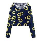 SALUCIA Sweatshirt Damen Langarm Bauchfrei Pullover mit Kapuze Langarmshirt Babygirl Druck Kapuzenpullover Crop Top Hoodie ohne Taschen