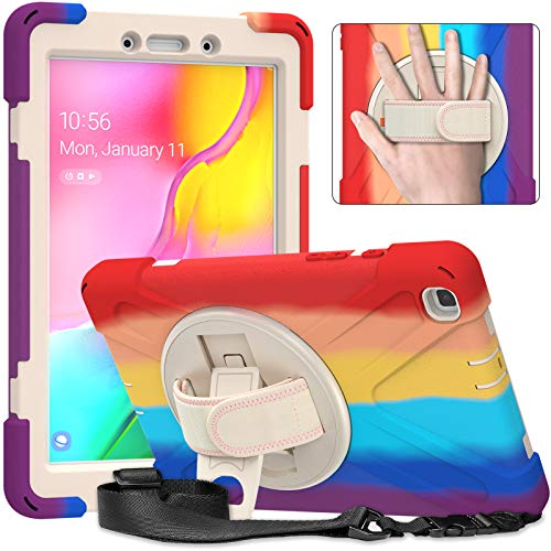 BAUBEY Case for Galaxy Tab A 8.0 2019, 360 Degree Rotatable Kickstand,Hand Strap and Shoulder Strap,Hybrid Heavy Duty Shockproof Case for Samsung Galaxy Tab A 8.0 SM-T290/T295/T297 (Red)