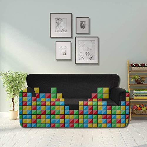 WYYWCY Gioco a Colori Blocco Tridimensionale Copridivano Classico Tetris Russo Copridivano a Prova di Polvere Coprivaso Aderente Protezione per Divano 2 e 3 divani