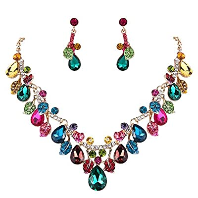 BriLove Wedding Bridal Necklace Earrings Jewelry Set for Women Crystal Enamel Teardrop Cluster Leaf Vine Statement Necklace Dangle Earrings Set Multicolor Colorful Gold-Toned