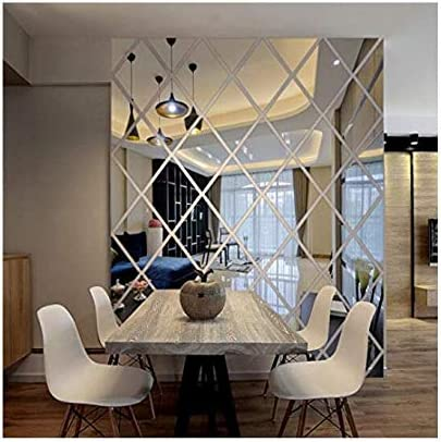 Ayzr Diamonds Triangles Wall Art Acrylic Mirror Wall Sticker House Decoration 3d Diy Wall Decals Art For Living Room Home Decor S Home Kitchen