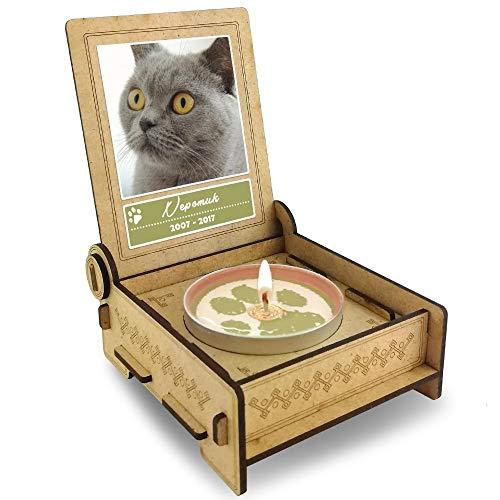 Drostlight kat, gepersonaliseerde rouwkaars met foto & naam, houten doos met spreuk, gratis e-Book, aandenken kat, rouwhuisdieren, kattenherinnering