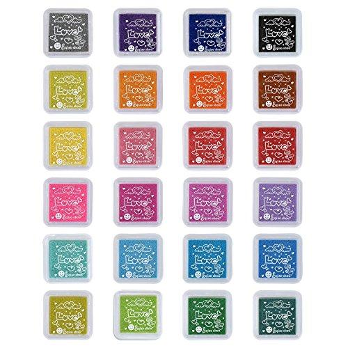 TFENG 24 Farben Stempelkissen Set, Wasserlöslich Fingerabdruck Stempel Pads Tinte, für Papier Handwerk Stoff, Scrapbook, Kinder Geburtstag Geschenk