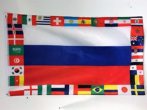 AZ FLAG Drapeau Russie Coupe du Monde de Football 2018 32 équipes 150x90cm - Drapeau Championnat du Monde 2018 90 x 150 cm Polyester léger