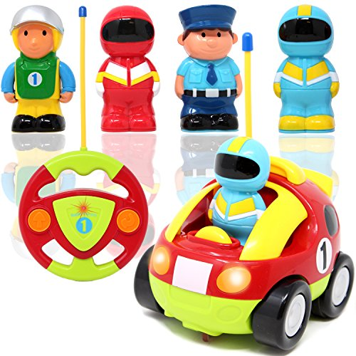 JOYIN Coches Teledirigidos con música Radio de Coches Cartoon Juguetes de Racer Policia Control Remoto Regalo de cumpleaños para niños 2 años