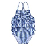 FEESHOW Baby Einteiler Spaghetti-Trägern Gestreifte Rüschen Mädchen Badeanzug Bademode Schwimmanzug für Kleinkinder 6 Monate bis 4 Jahre Blau/Weiß gestreift 98-104/3-4 Jahre