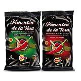 Pimentón de la Vera Ahumado en Bolsa, Pack 2x250g ( Dulce y Picante ). Producto con la Denominación de Origen Protegida D.O.P. Condimento Apto para Celíacos.
