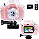 Children Kids Camera Waterproof Digital Video Camera HD Underwater Camera for Kids 1080P Action Video Cameras DV Camcorder Toddler Camera for Girls Birthday Learn Camera Toy with 32G SD Card (Pink)