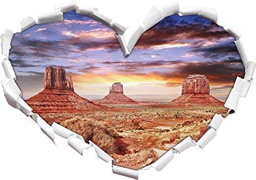 en Forme de Coeur Utah Monument Valley en 3D Look, Mur ou Autocollant de Porte Format: 92x64.5cm, Stickers muraux, Stickers muraux, Wanddekoratio