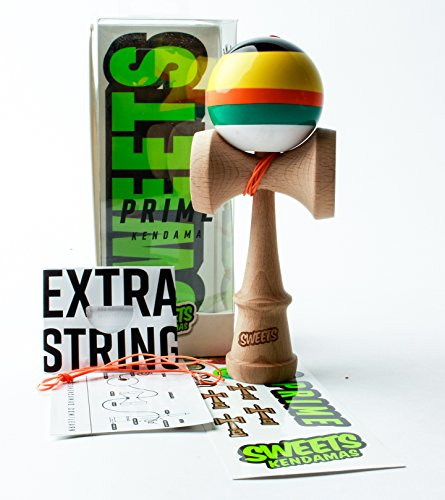 Sweets Kendamas 5-Stripe Prime Kendama - All Levels, Stripe Design, Extra String Accessory Bundle (Poncho)