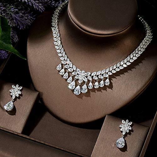 Jskdzfy Juego de collar y pendientes de joyería para mujer (color: chapado en platino)