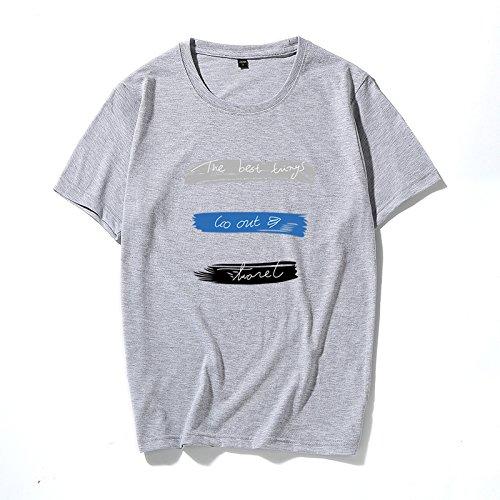 Los hombres DE MANGA CORTA Camiseta con cuello redondo Sau compasivo hombre joven blanco wild half-camisa de manga marea de hombres ,S, gris: Amazon.es: Deportes y aire libre