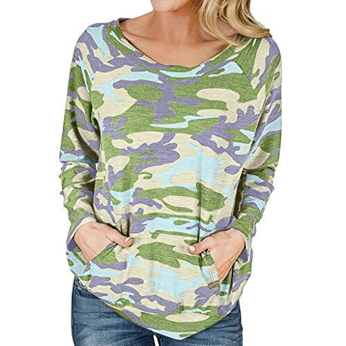 WARMWORD Camiseta Mujer Moda Manga Larga Casual Camuflaje Impresión Camiseta Sudaderas Invierno Jersey Tumblr Mujer Otoño Primavera Blusa Tops Suéter Mujer Abrigo Deportiva