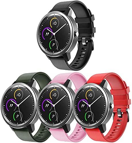 Gransho Correa de Reloj Compatible con Polar Vantage M, Impermeable Reemplazo Correas Reloj Silicona Banda (22mm, 4-Pack G)