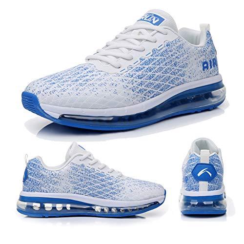 Torisky Zapatillas Deportivoas Hombre Mujer Air Zapatos de Deporte Running Sneakers Correr Gimnasio Casual(8998-WH/BL43)
