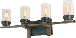 Eumyviv Rustic Style Bathroom Lighting Metal Wall Sconce with Seeded Glass Shade, Industrial Wall Light Log Cabin Home Retro Edison Sconce Lighting Fixtures 4-Lights, Black (W0064)