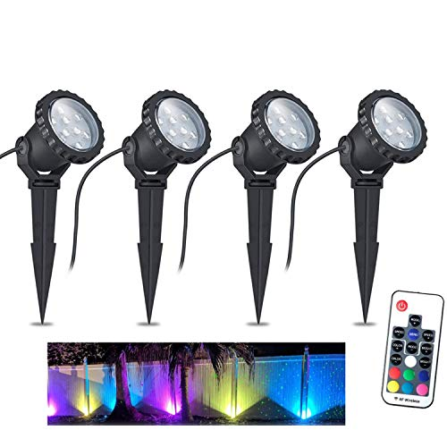 Color Changing LED Landscape Lights 12W Landscape Lighting IP66 Waterproof LED Garden Pathway Lights Walls Trees Outdoor Spotlights with Spike Stand, Outdoor Landscaping Lights, 4 Pack