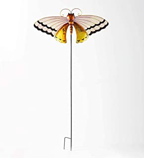 Wind & Weather 46-Inch High Gold and Black Metal Butterfly Decorative Garden Stake with Spring-Mount for Wind Motion and S...