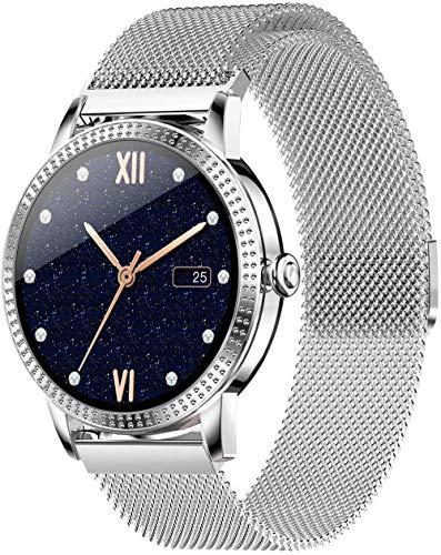 Relojes inteligentes para hombre y mujer 1.08 pantalla táctil completa ip67 impermeable podómetro fitness tracker reloj, pulsera inteligente con monitor de sueño-plata