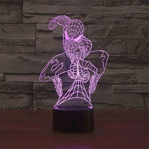 3D LED Illusion Lampe Nachtlicht Spiderman 16 Farben Farbwechsel Acryl LED Nachtlicht für Jungen Mädchen Geburtstag oder Geschenk