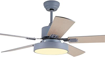QUKAU 52INCH Silent Ceiling Fan Light Remote Control Home Restaurant with Light Fan Chandelier LED Hanging Fan lamp (Grey)