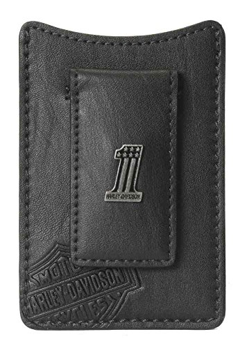 Harley-Davidson Men's Front Pocket Wallet, 1 Medallion, Black CR2367L-Black