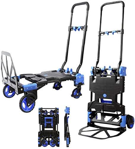 ABIBA 台車 キャリーカート 2way 両用 折りたたみ式 軽量 業務用 折り畳み台車 コンパクト (ブラック211)