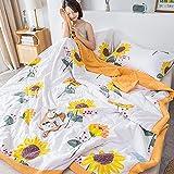 Manta de Microfibra Color sólido, Extra Suave Mantas para Sofás, Multifuncional para sofá, Cama, Viajes, Adultos, niños -Girasol_200x230cm