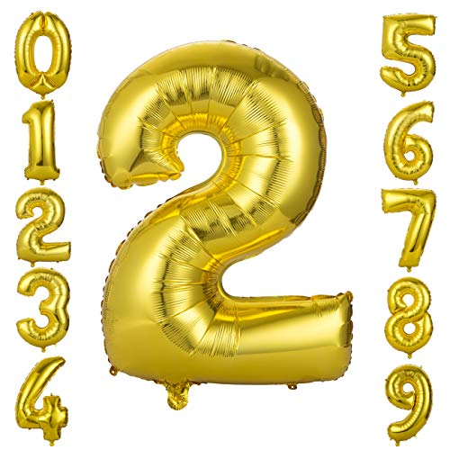 GWHOLE Globos Número 2, Globo Color Oro Globo Grande de Aluminio 1 2 3 4 5 6 7 8 9, Globos para Fiestas de Cumpleaños, Aniversario