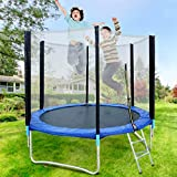 Mifelio 8ft ASTM Approved Trampoline with Net Enclosure, Stable, Strong Kids and Adult Trampoline with Net, Outdoor Trampoline for Kids,Teens and Adults
