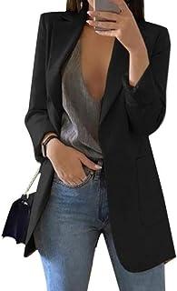 Blazer para Mujer Largo Elegante Mangas Largas Cardigan Chaqueta de Traje Corte Slim de Negocio Oficina Color Sólido