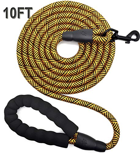 Mycicy 10 FT Rope Dog Leash with Comfortable Padded Handle, Strong Dog Leash for Medium and Large Dogs Walking Training Hiking