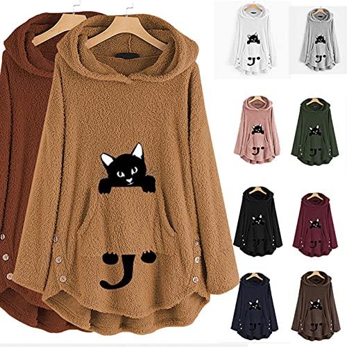 Kawaii - Sudadera con capucha para mujer, diseño de gato, tamaño grande, con capucha, forro polar, para otoño e invierno