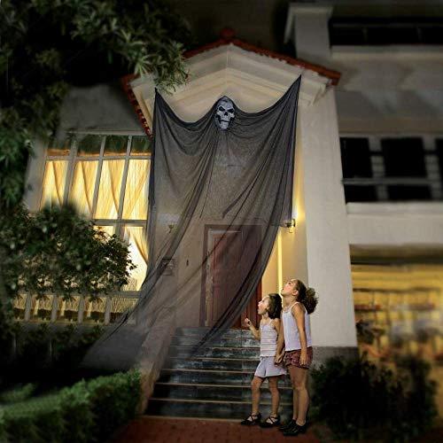 AOFOX Víspera de Todos los Santos Fantasma Colgante Esqueleto Colgante Fantasma Volador, 3.3 m de Largo Decoraciones Colgantes de Halloween para la Barra de la Fiesta del Patio (Negro)