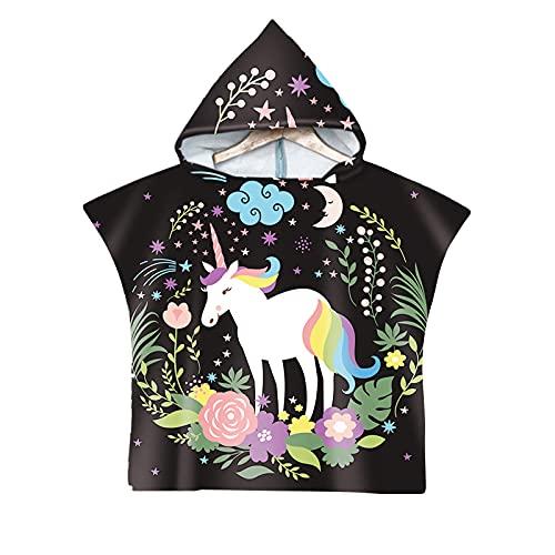 Aiihoo Toallas de baño con capucha para niñas y niños, diseño de dibujos animados, Negro, 3-12 años