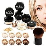 LIGHT SKIN 8pc Bare Naked Skin Mineral Makeup Set (Large) by NCinc. + Kabuki Brush. Minerals Makeup Starter Kit