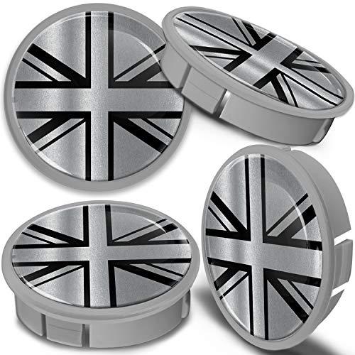 SkinoEu 4 x 60mm Tapas de Rueda de Aleación Centro Centrales Tapacubos para Llantas Coche Tuning Negro Plata Bandera del Reino Unido UK CXS 9