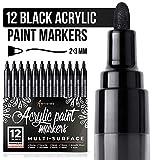 Marcador de pintura negra para madera, vidrio, lienzo, rocas, tela. Juego de bolígrafos de pintura acrílica negra, punta media, 12 rotuladores